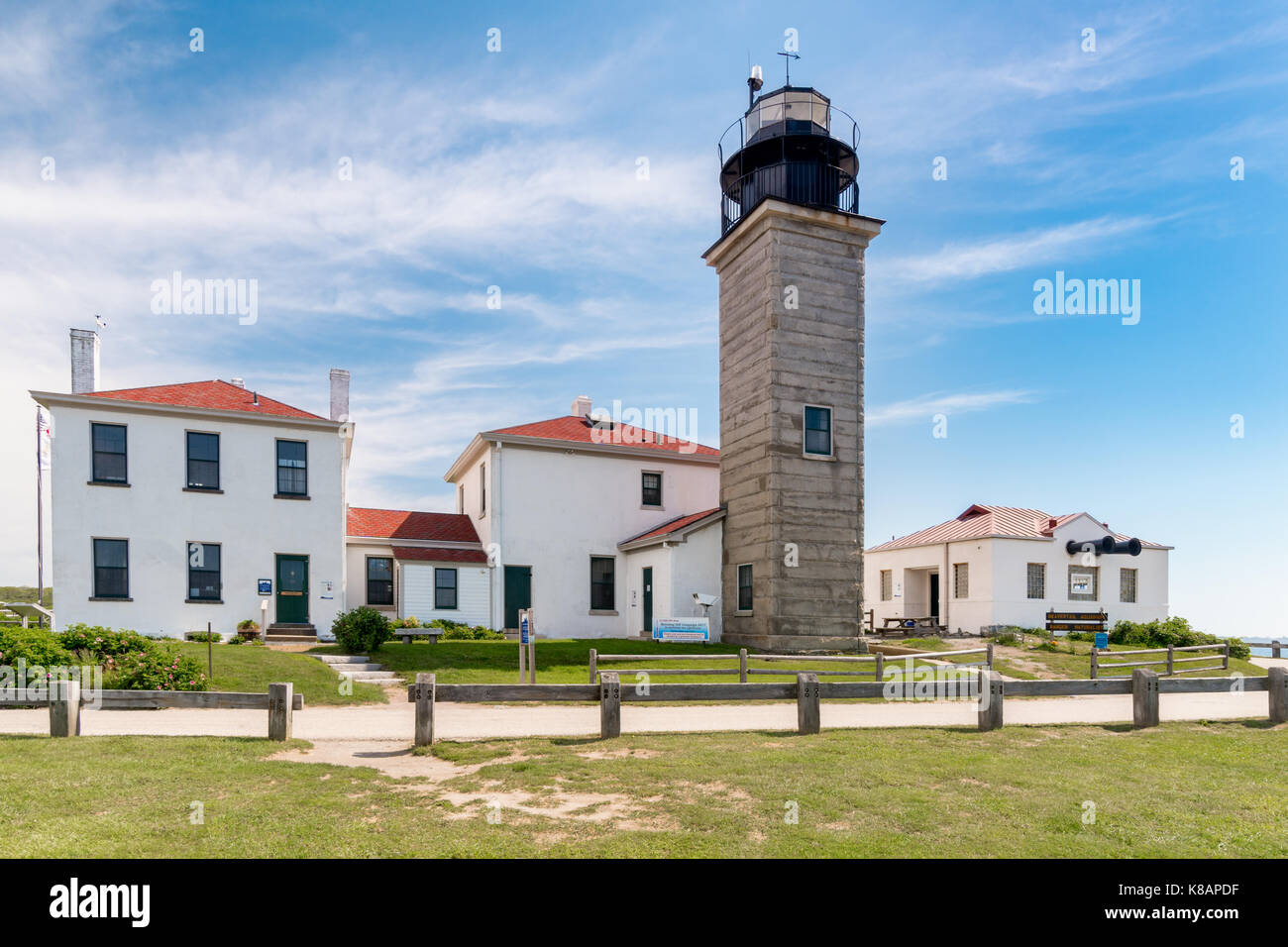 Beavertail Lighthouse was used repeatedly to conduct experiments with new fog signals and lighting equipment. In - Stock Image