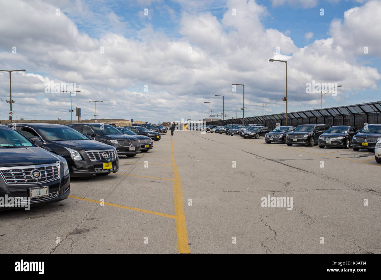 Chicago,IL,USA,April 6 2017:Limousine Parking Lot at O'Hare International Airport,for editorial use only - Stock Image