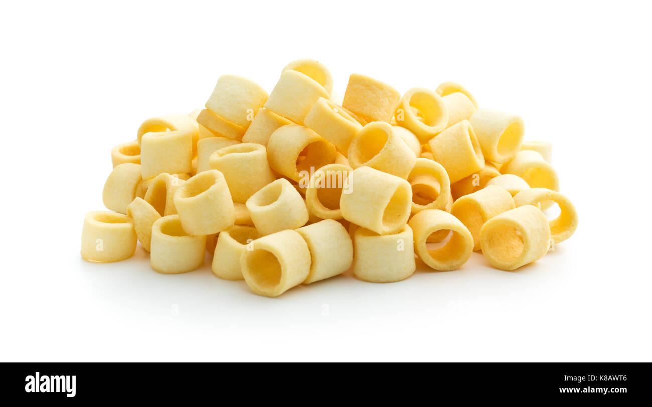 Crispy potato rings isolated on white background. - Stock Image