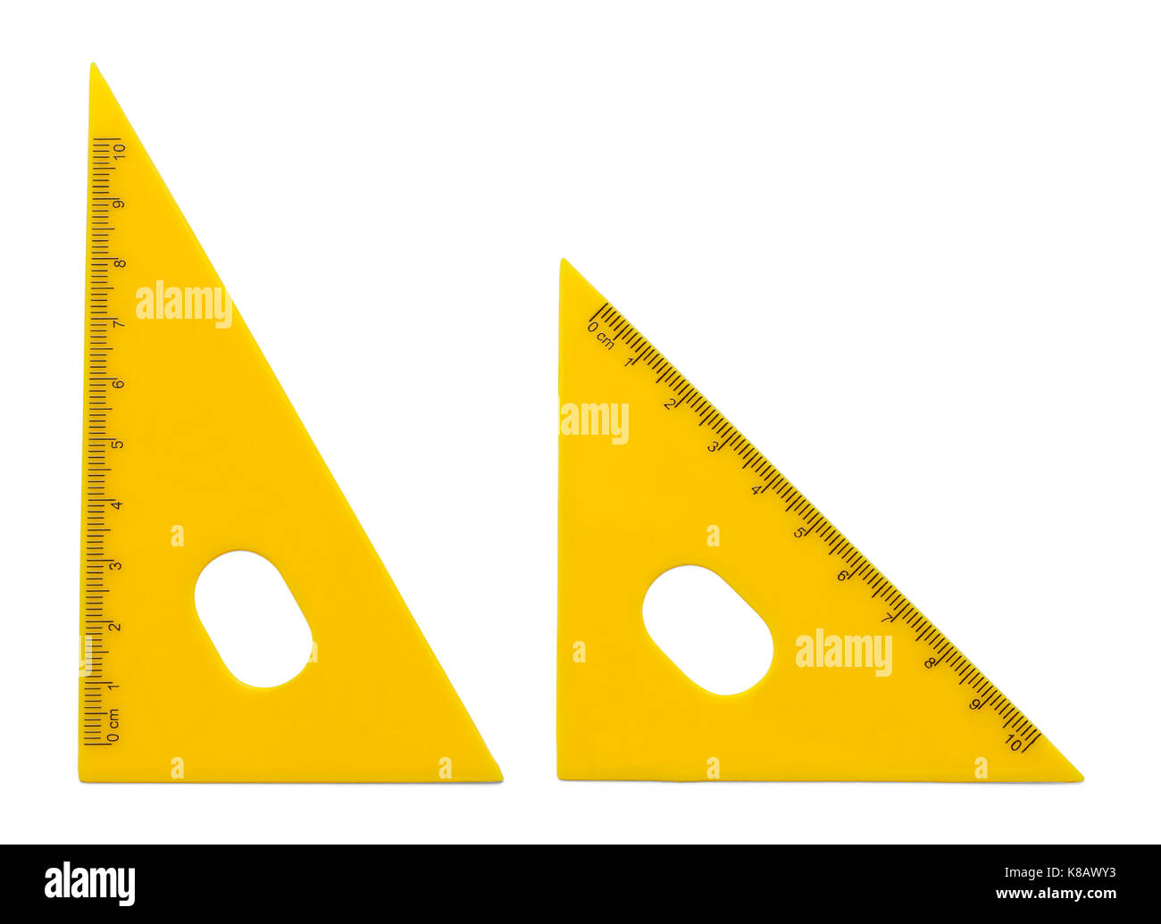 Yellow Triangle Rulers Isolated on White Background. - Stock Image