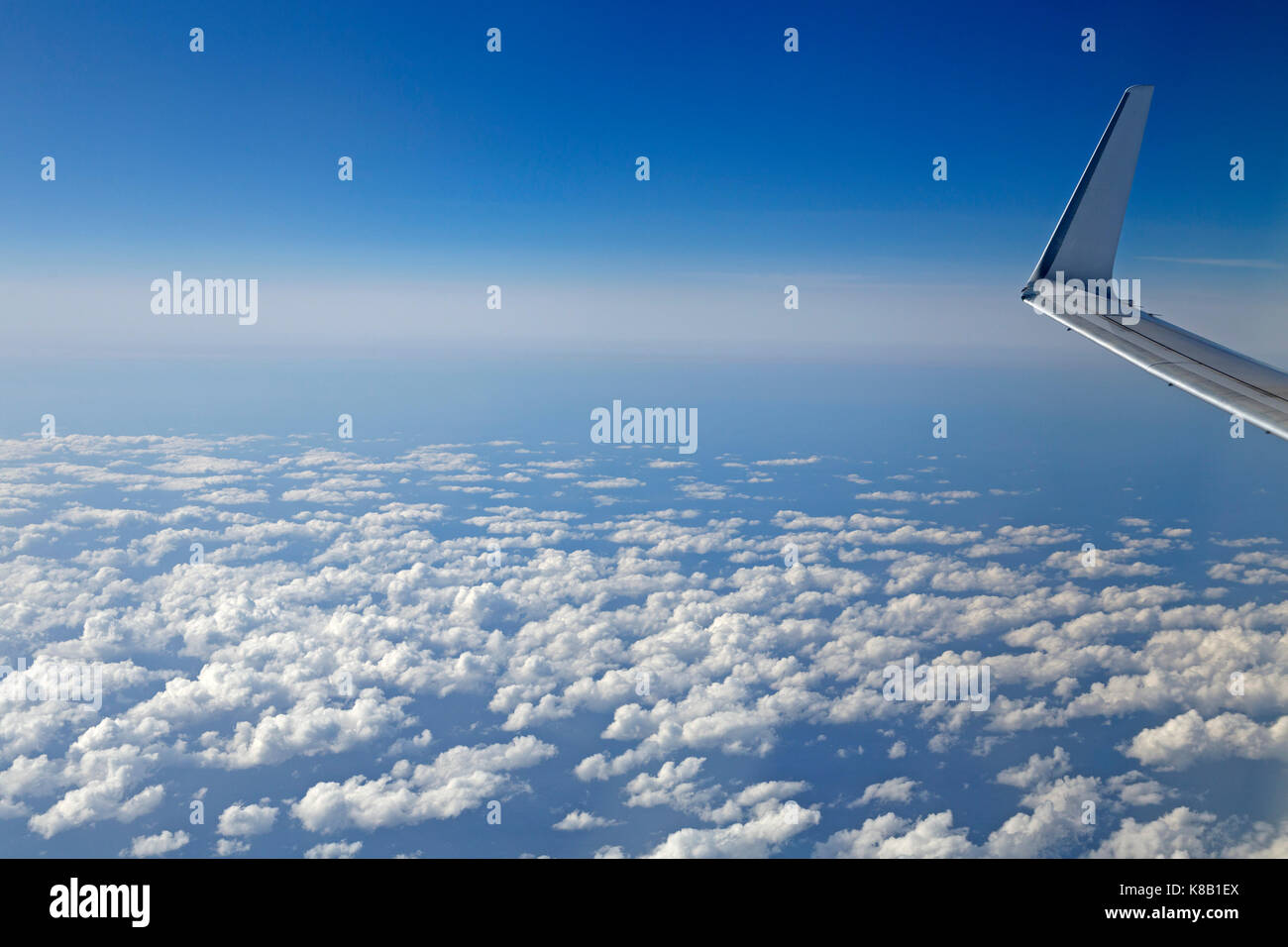 above the clouds between Majorca and Berlin - Stock Image