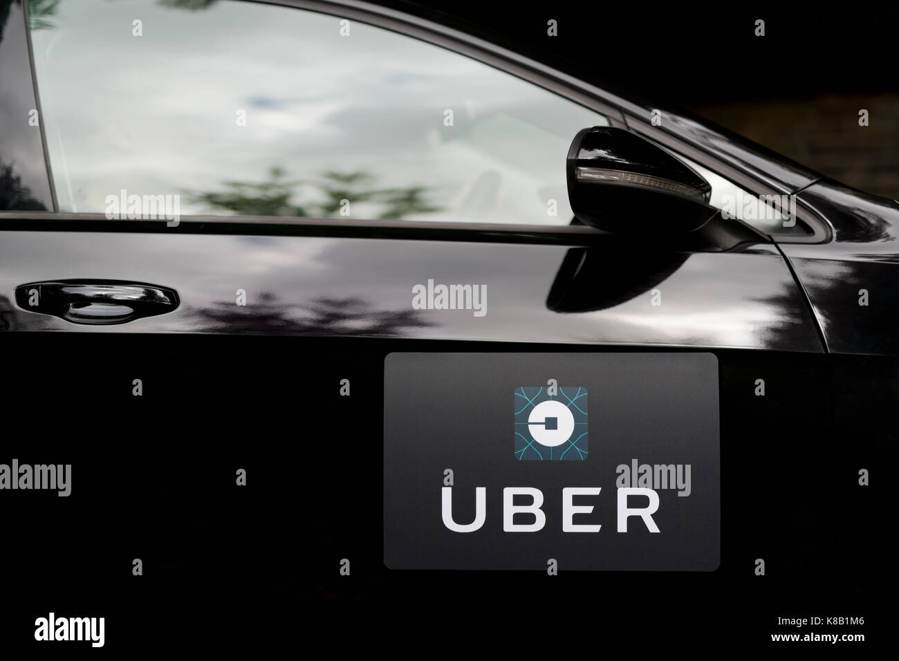 A black Volkswagen featuring the Uber logo is used as a taxi and also shows a driver in a leafy suburban street - Stock Image
