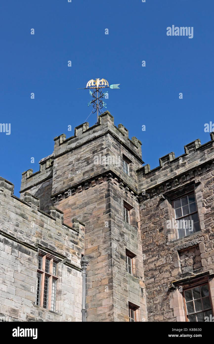 Chillingham Castle, 12th Century Castle Bat logo weather vane - Stock Image