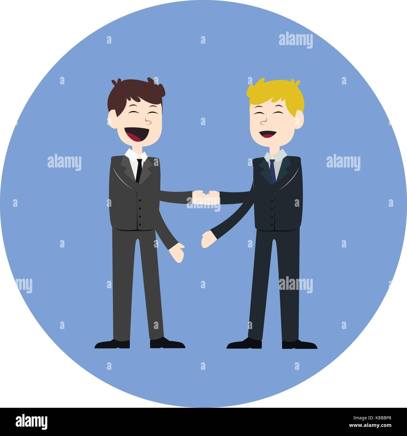 Business concept vector illustration in flat cartoon style. Business people shaking hands. Businessmen making a Stock Vector