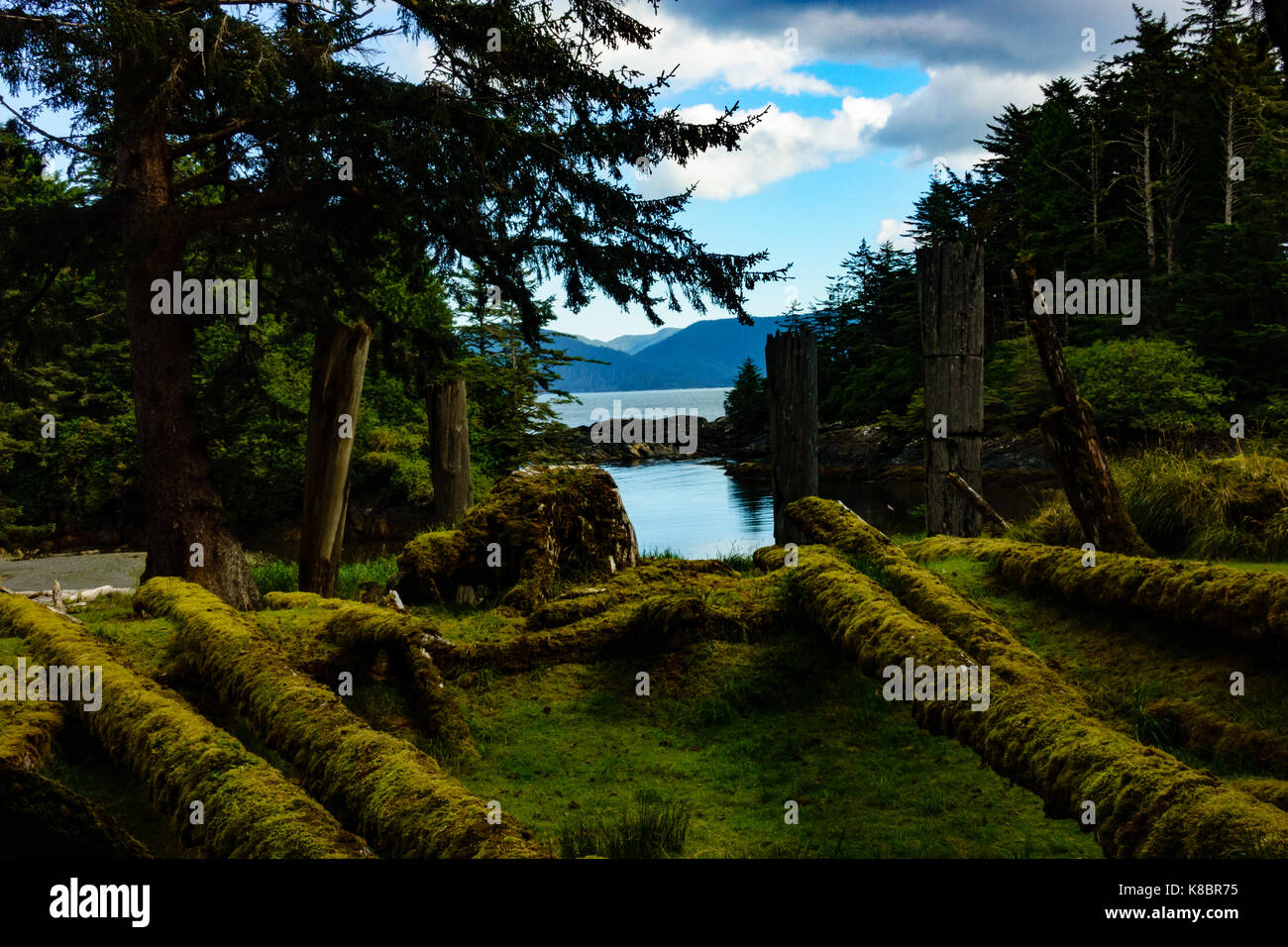 Abandoned longhouses with funeral poles in SGang Gwaay World Heritage site, Haida Gwaii, First Nations, British - Stock Image