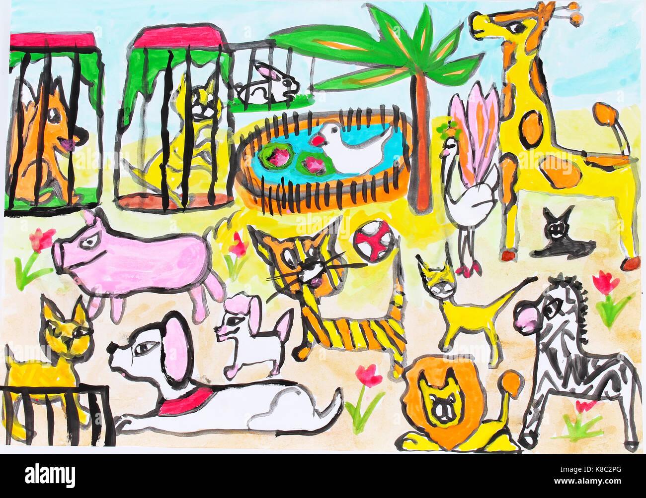 Image of: Kids Child Draw Drawing Paint Painting Zoo With Animals Giraffe Tiger Pig Dog Fox Zebra Cat Bird Lion Duck Children Draws Paints Kids Art Alamy Child Draw Drawing Paint Painting Zoo With Animals Giraffe Tiger