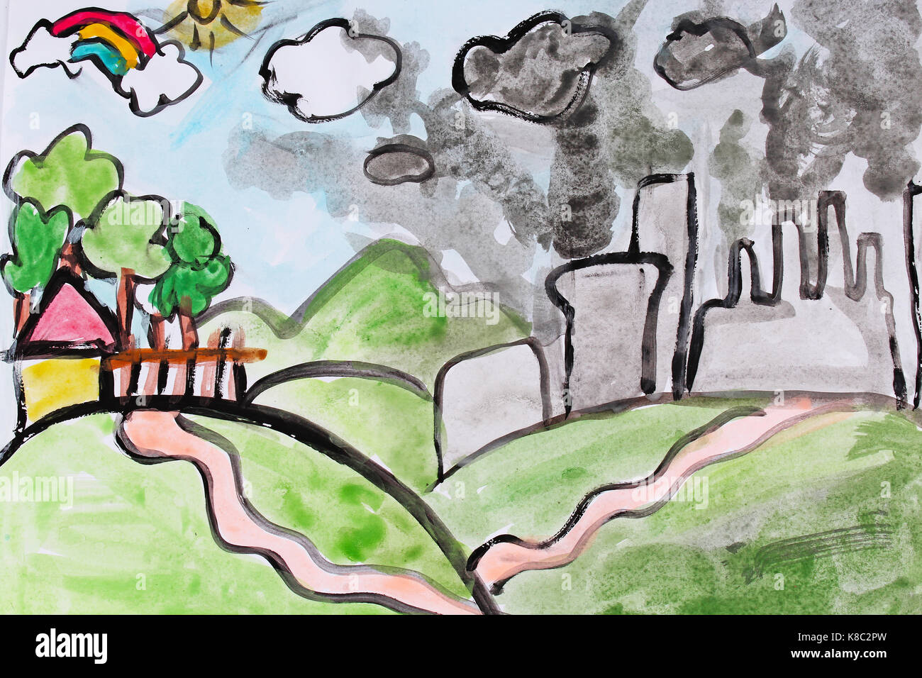 Child draw childs paint drawing painting about pollution children draws paints kids art