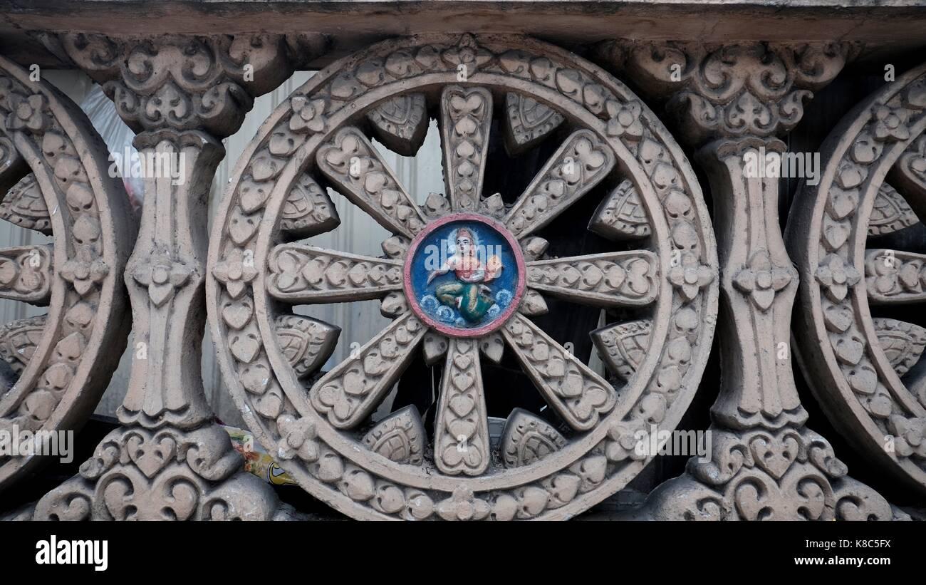 Dharmachakra Dharma Wheel Spokes of Ashoka Chakra Fence Wall Hindi Buddhist Symbolizes the Teachings of the Buddha - Stock Image