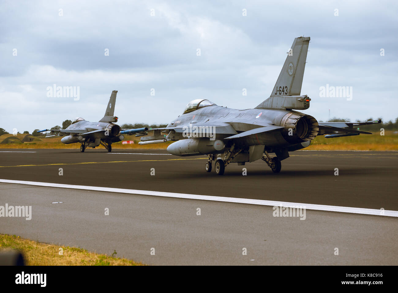 General Dynamics F-16A Fighting Falcon at NATO Tiger Meet 2014 - Stock Image