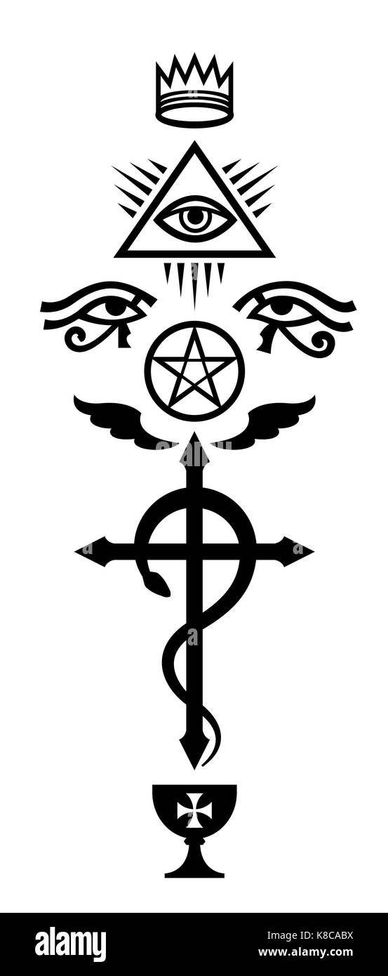 CRUX SERPENTINES (The Serpent Cross). Mystical signs and Occult symbols of Illuminati and Freemasonry. - Stock Image