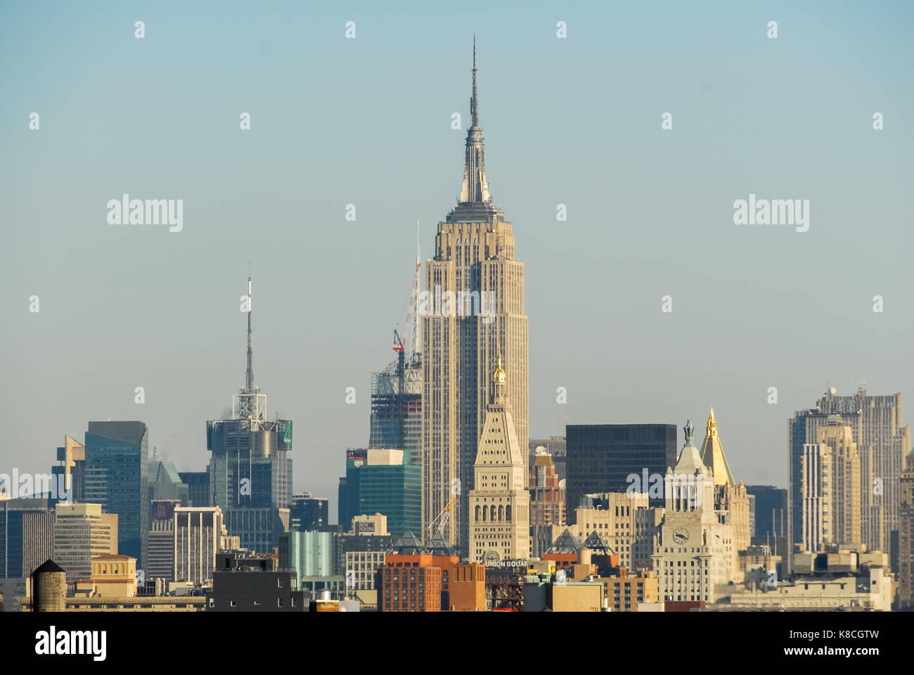 Midtown Manhattan View From The Brooklyn Bridge Stock Photo