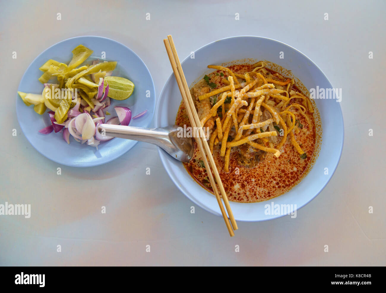 The famous Khao Soi Samer Jai in Chiang Mai, Thailand - Stock Image