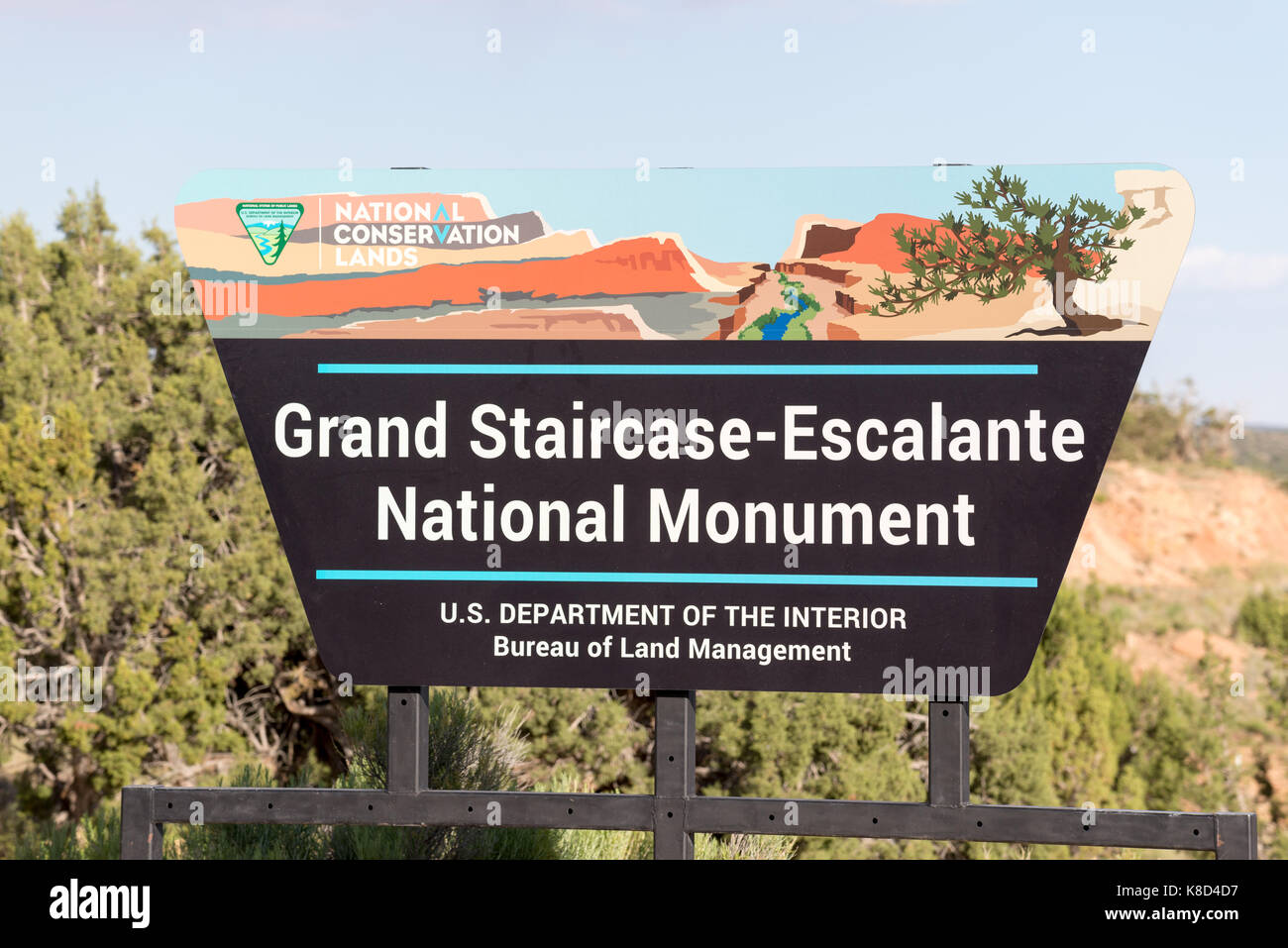 Grand Staircase - Escalante National Monument sign near Escalante, Utah. - Stock Image