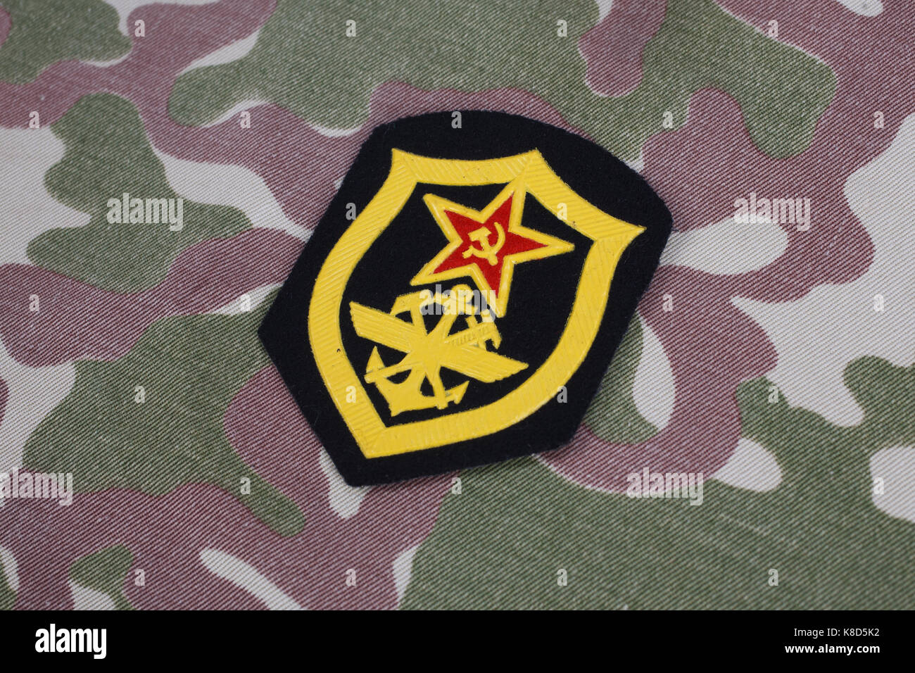 Soviet Army Military engineering shoulder patch on camouflage uniform - Stock Image