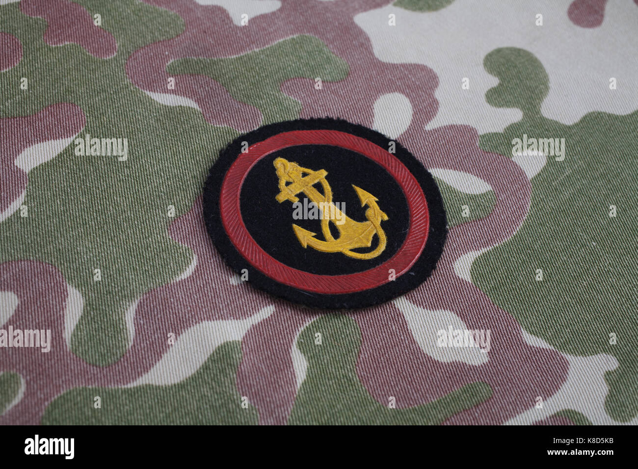 Soviet Army Marines shoulder patch on camouflage uniform - Stock Image