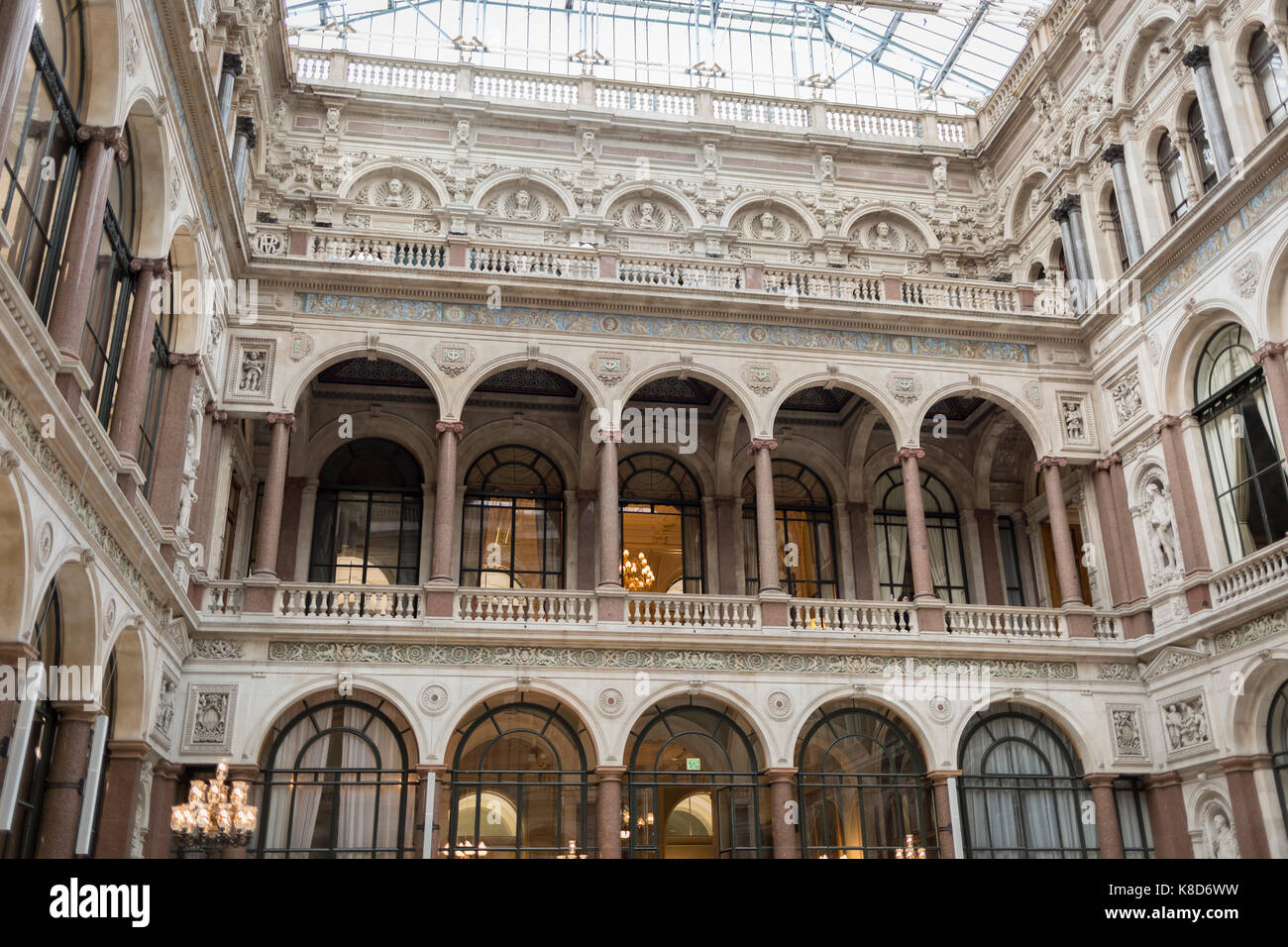 The architecture of the covered Durbar Court, inside the Foreign and Commonwealth Office (FCO) and part of the former Stock Photo