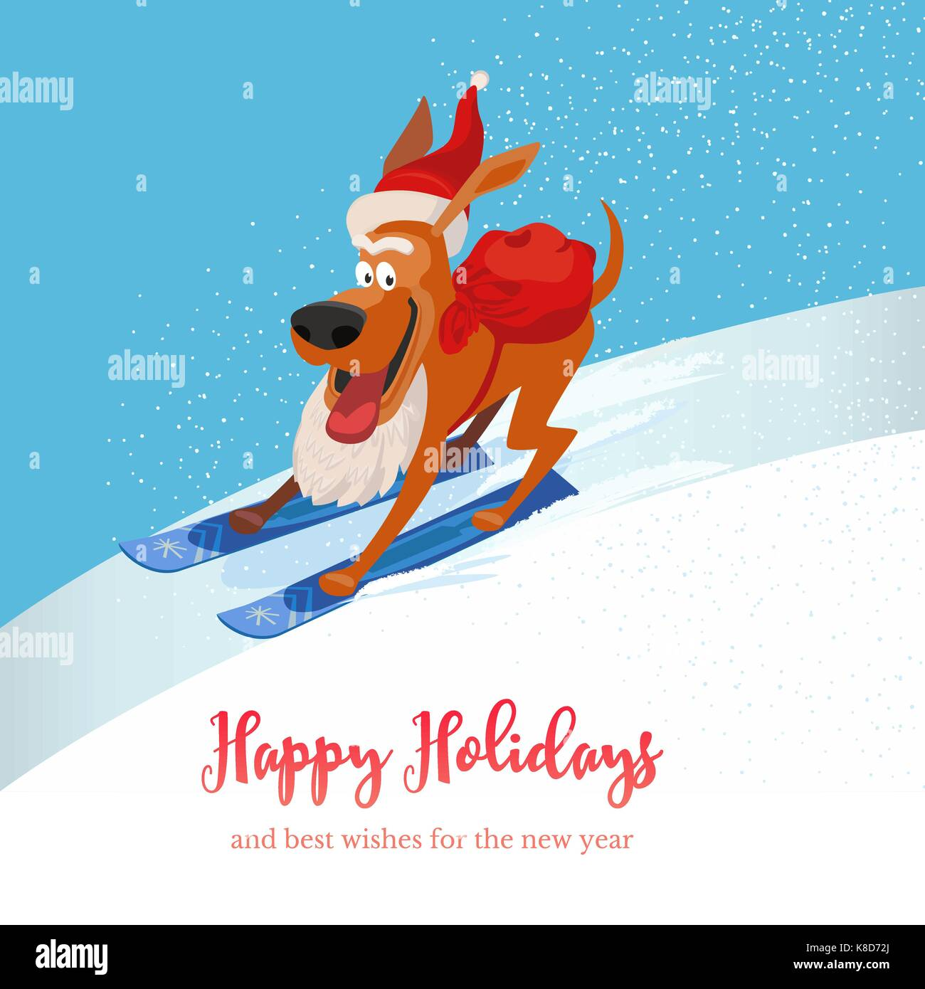 Skiing cute dog with sack of gifts. Puppy pet on mountain ski in Santa hat. Vector cartoon domestic animal. Happy Stock Vector