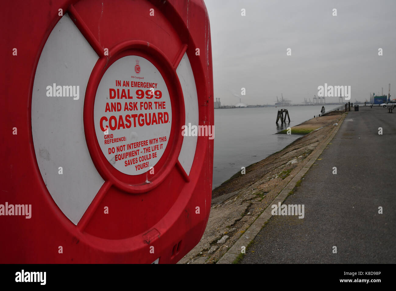 A coastguard station with lifebuoy  for emergency  next to the waterside at Southampton Estuary Mayflower park part - Stock Image
