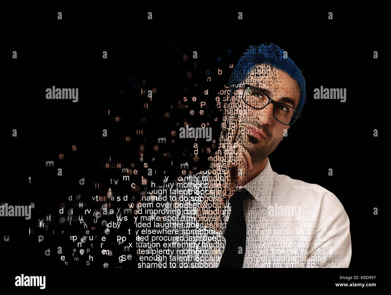 Digital man with code - Stock Image