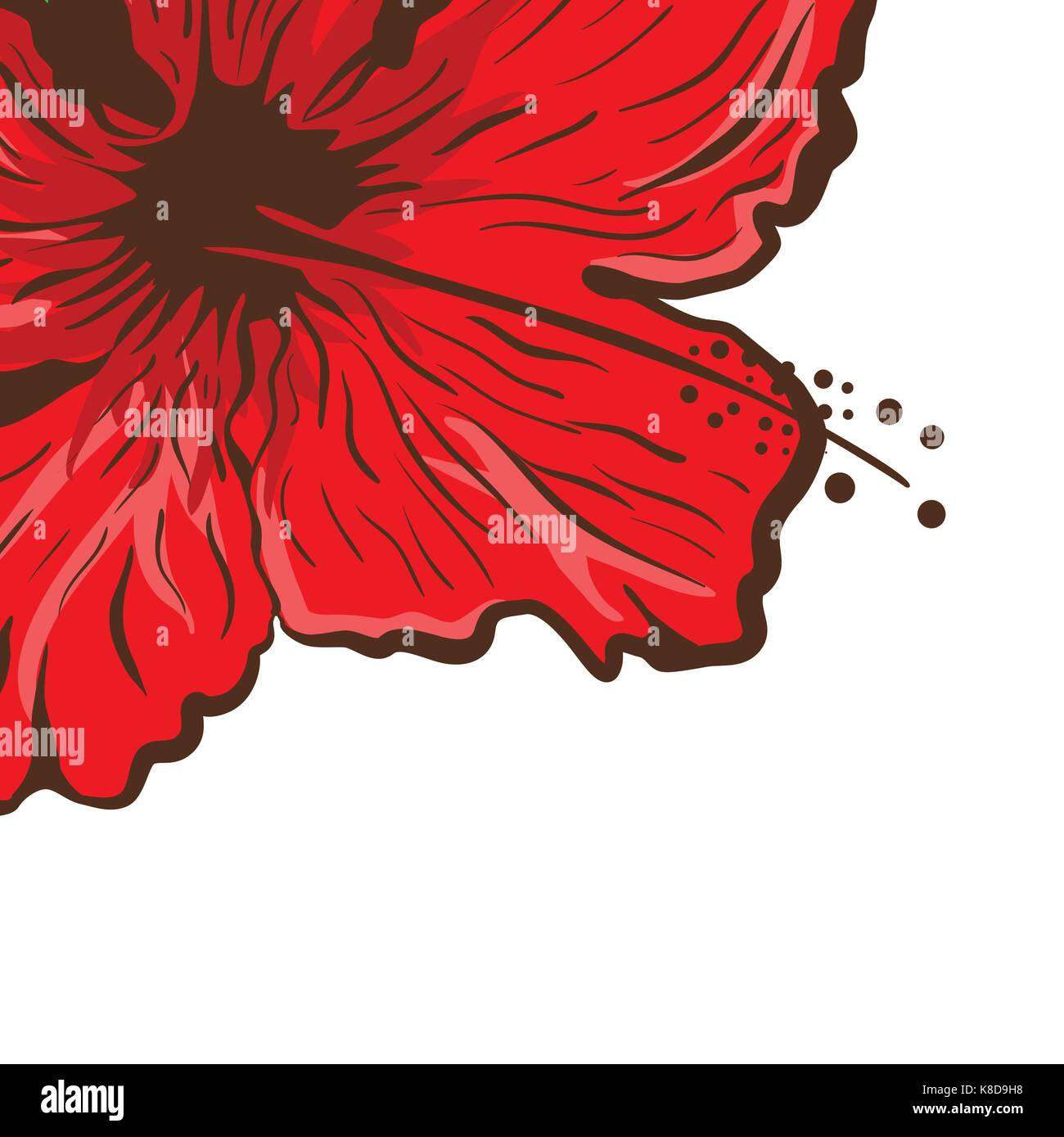 Greeting Card Hibiscus Flower In Tattoo Style Graphic Tropical