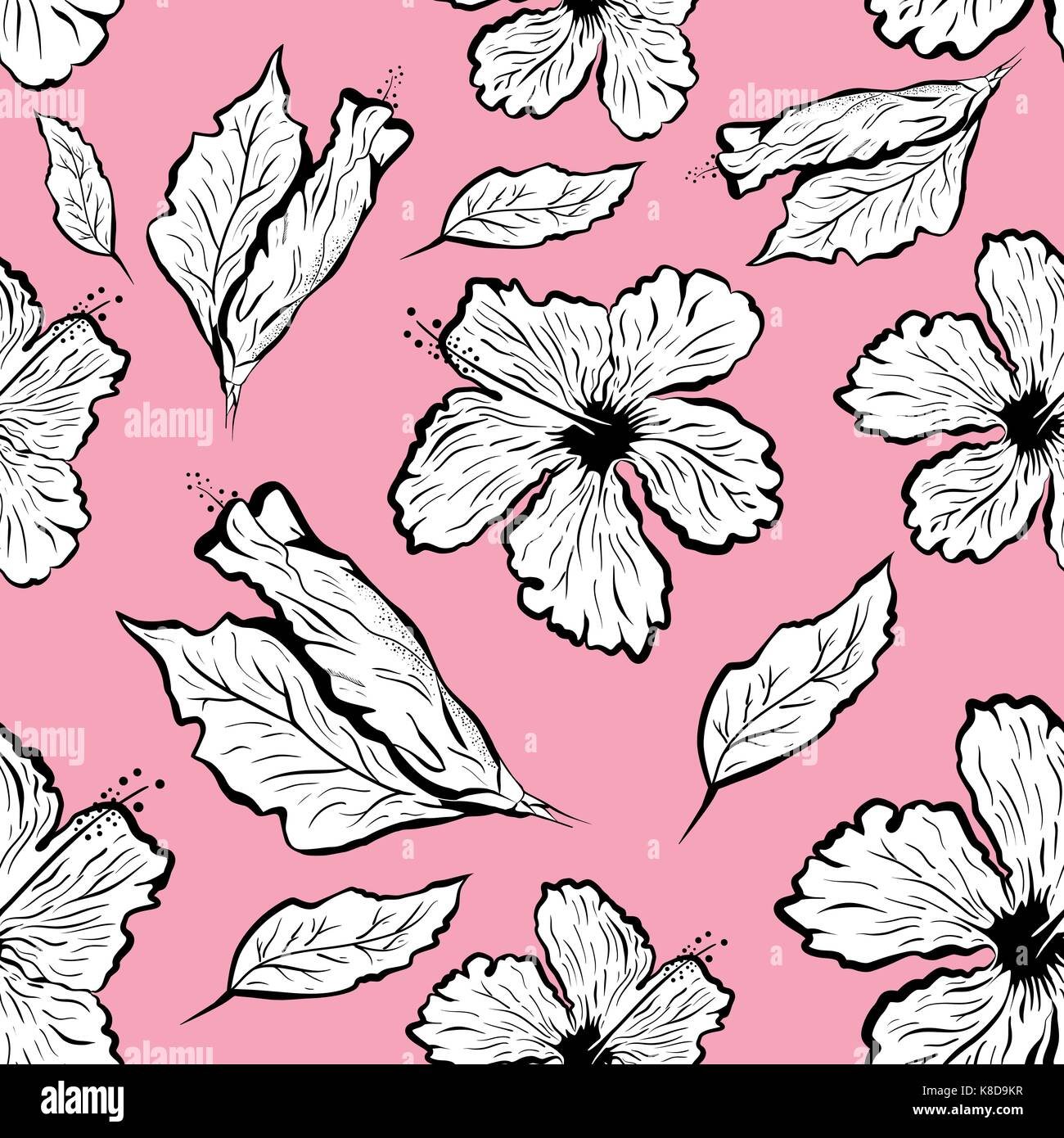 Seamless Pattern Of Hibiscus Flower In Tattoo Style Black And White