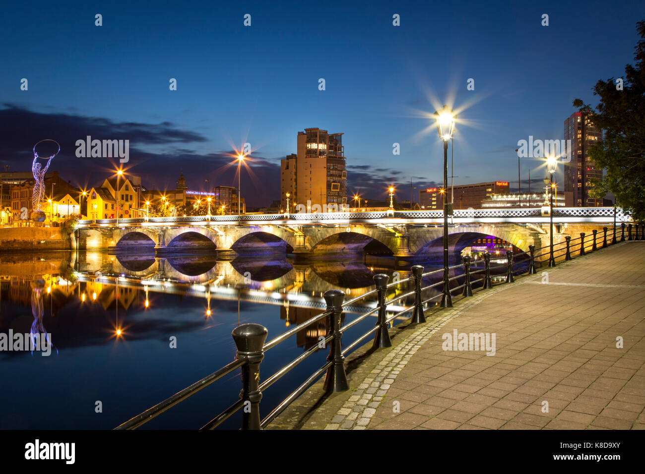 Beacon of Hope statue, Lagan Bridge and town of Belfast, County Antrim, Northern Ireland, UK - Stock Image