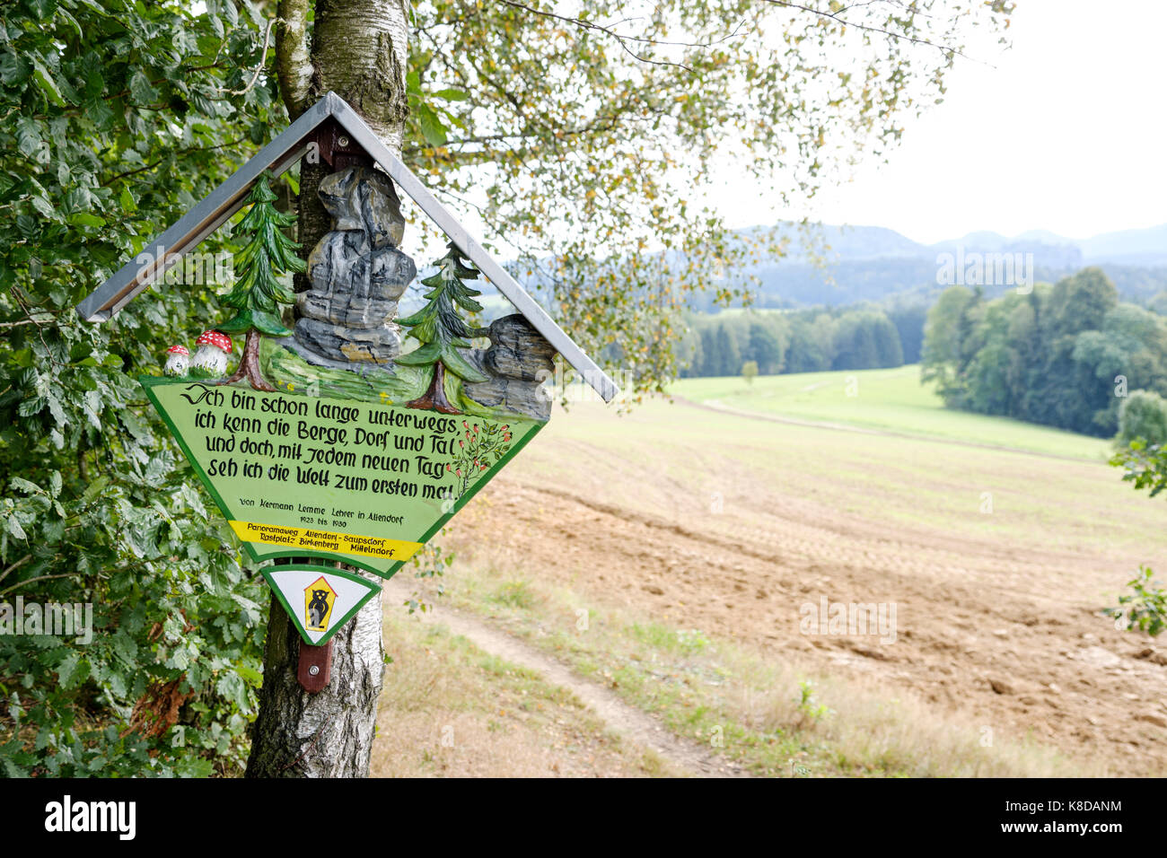 sign on the Panoramaweg near Mittelndorf, Sächsische Schweiz, Saxony, Germany - Stock Image