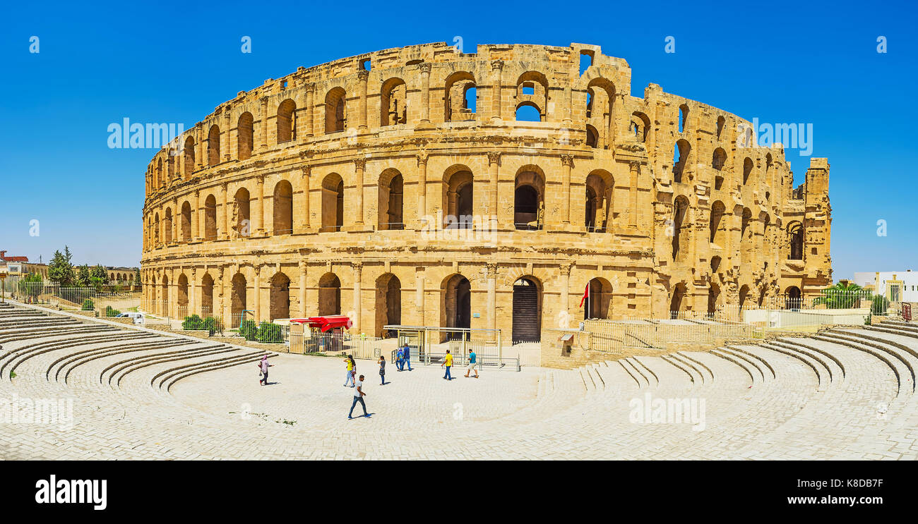 EL DJEM, TUNISIA - SEPTEMBER 1, 2015: Panorama of El Jem amphitheater, preserved since the times of Romans and located - Stock Image
