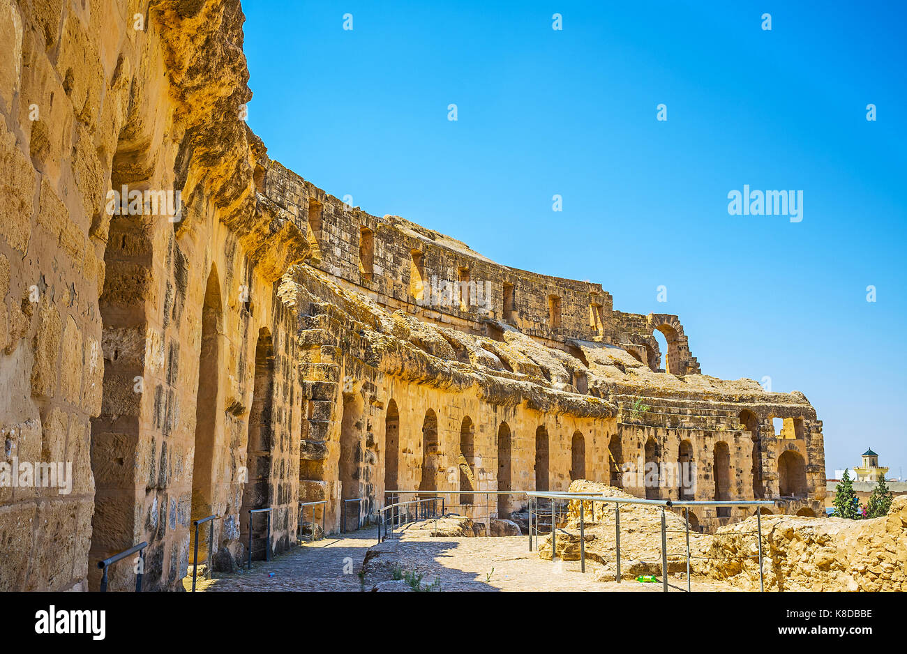 EL DJEM, TUNISIA - SEPTEMBER 1, 2015: The ruins of the limestone wall of  El Jem amphitheater, the pearl of the - Stock Image