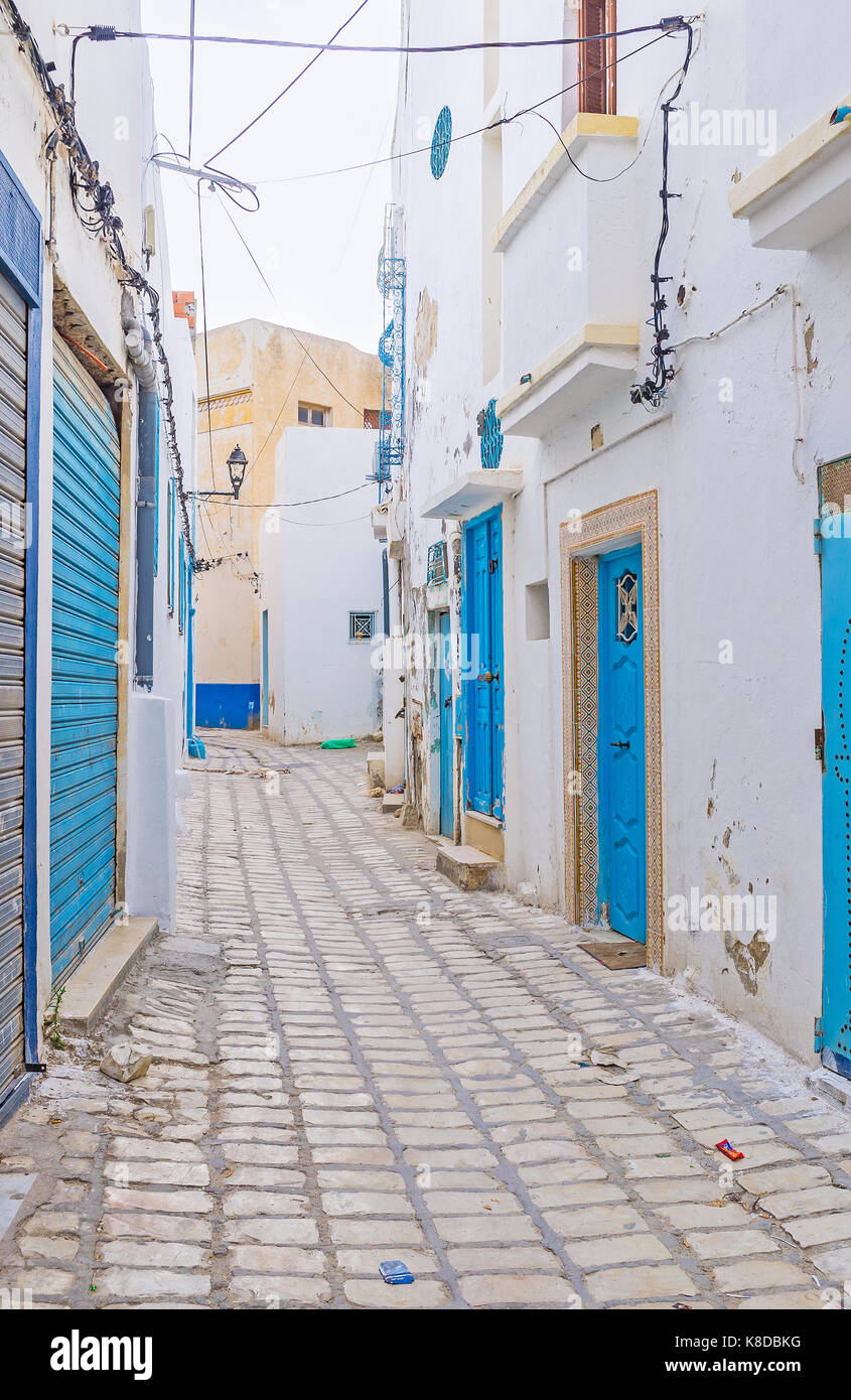 The narrow streets of medina hide many places of tourist interest, Sousse, Tunisia. Stock Photo