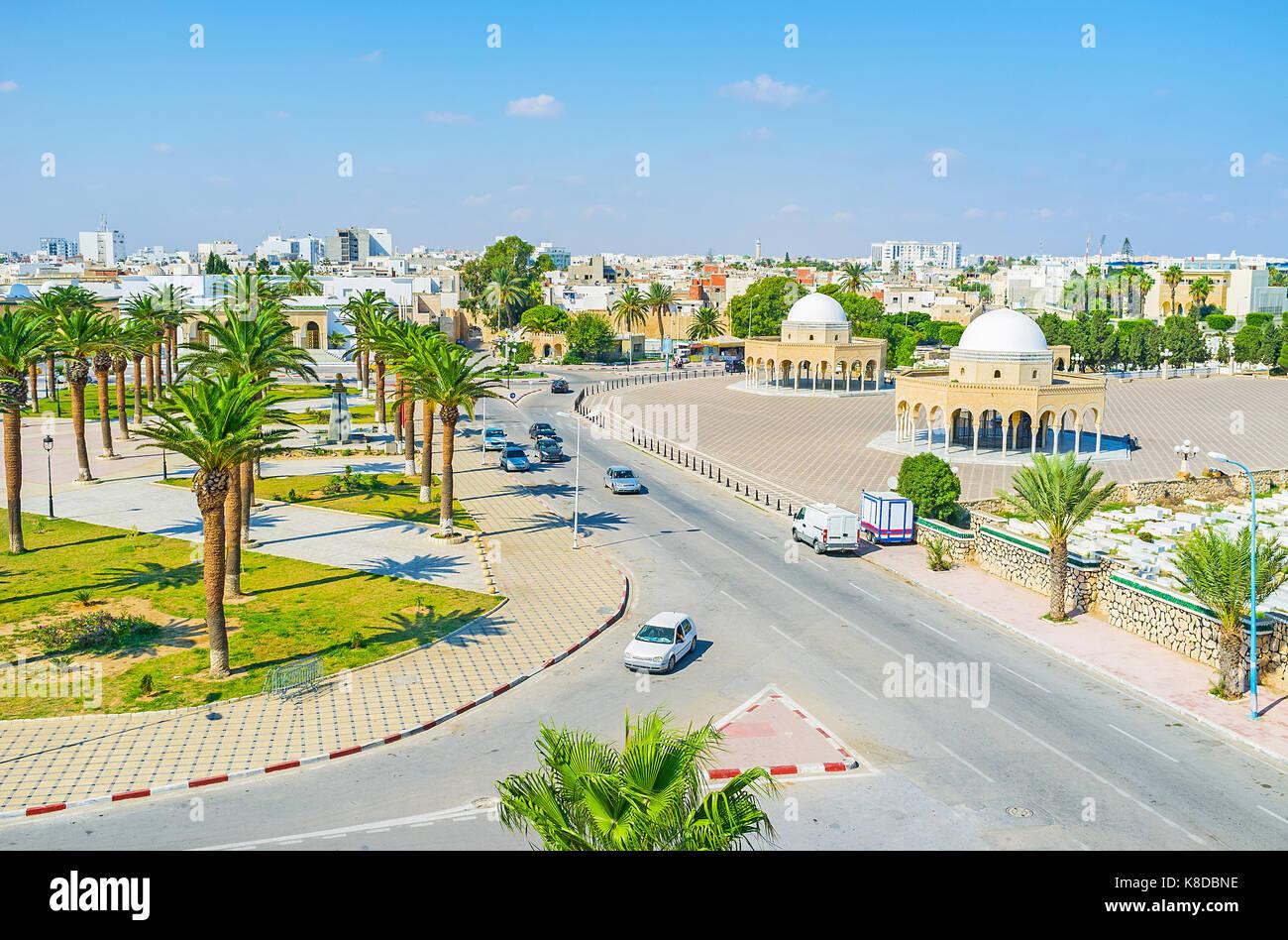 Aerial view of Habib Bourguiba square with two semetrical Arabic pavilions, Monastir, Tunisia. Stock Photo