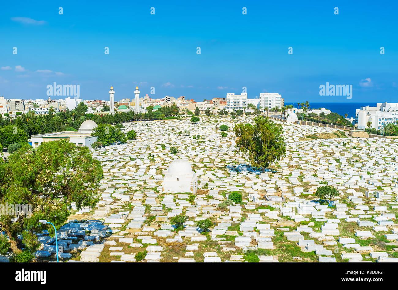 Aerial view of historic Sidi el-Mezeri cemetery with two minarets of Habib Bourguiba Mausoleum on the background, Stock Photo