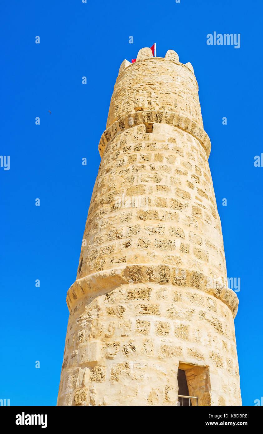 The medieval stone circle tower of Ribat fortress, Monastir, Tunisia. Stock Photo