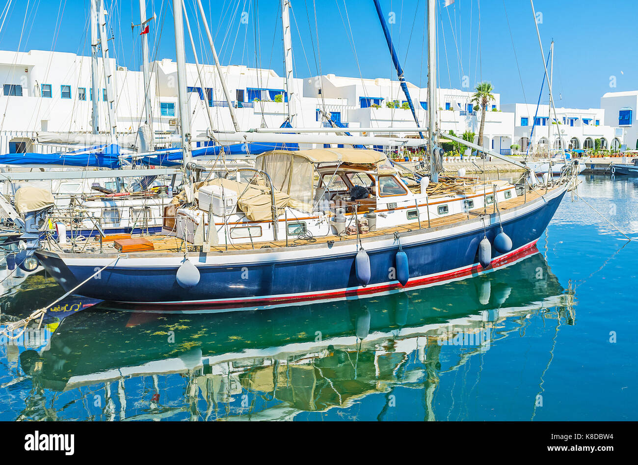 The scenic yachts in Monastir marina are perfect for the romantic trips along the coast, Tunisia. - Stock Image