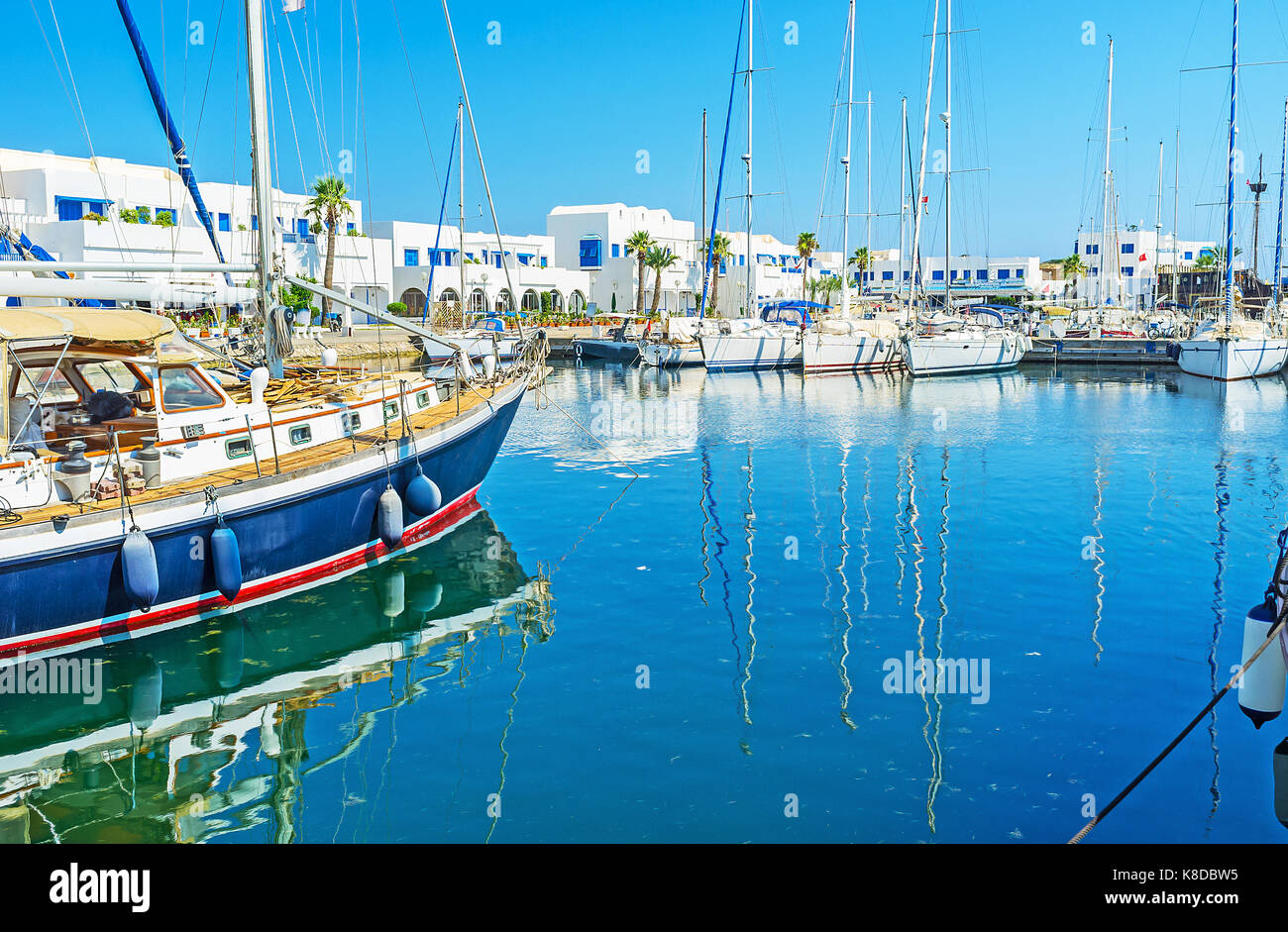 The yacht harbor of Monastir is the favorite tourist place, full of different attractions and types of interesting - Stock Image