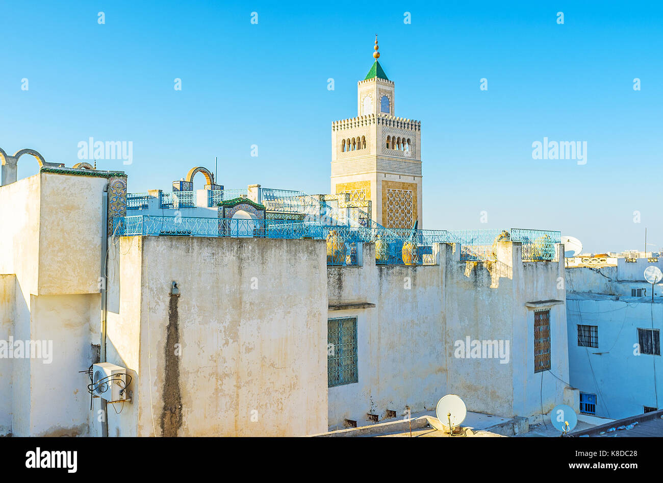 The dense buildings in Tunis Medina look great from the top, their roofs are perfect viewpoints, overlooking the - Stock Image