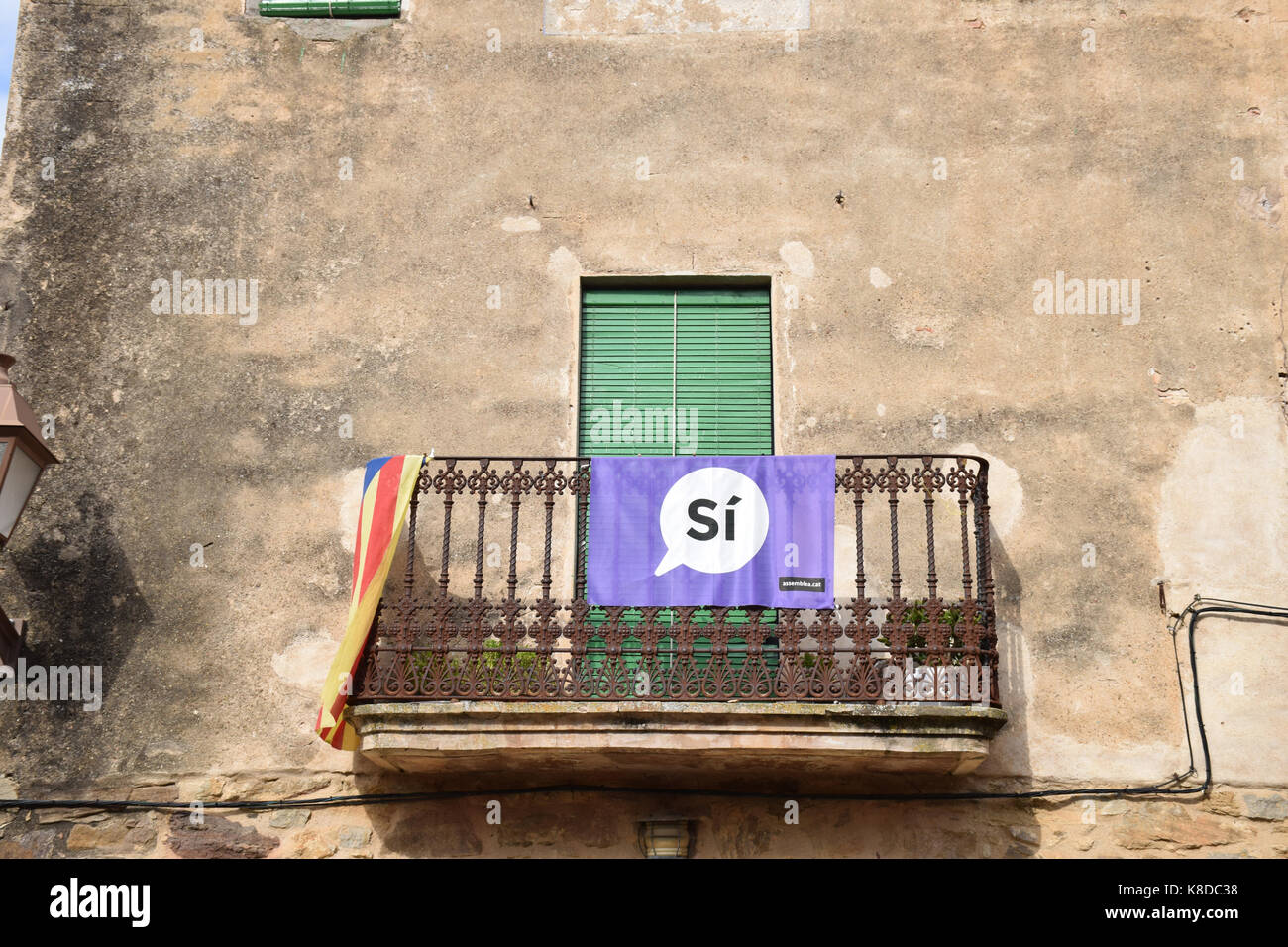 Catalonia, Spain Sep 2017. Pertallada. On 1 October Catalans will go to the polls to vote in a referendum on whether - Stock Image