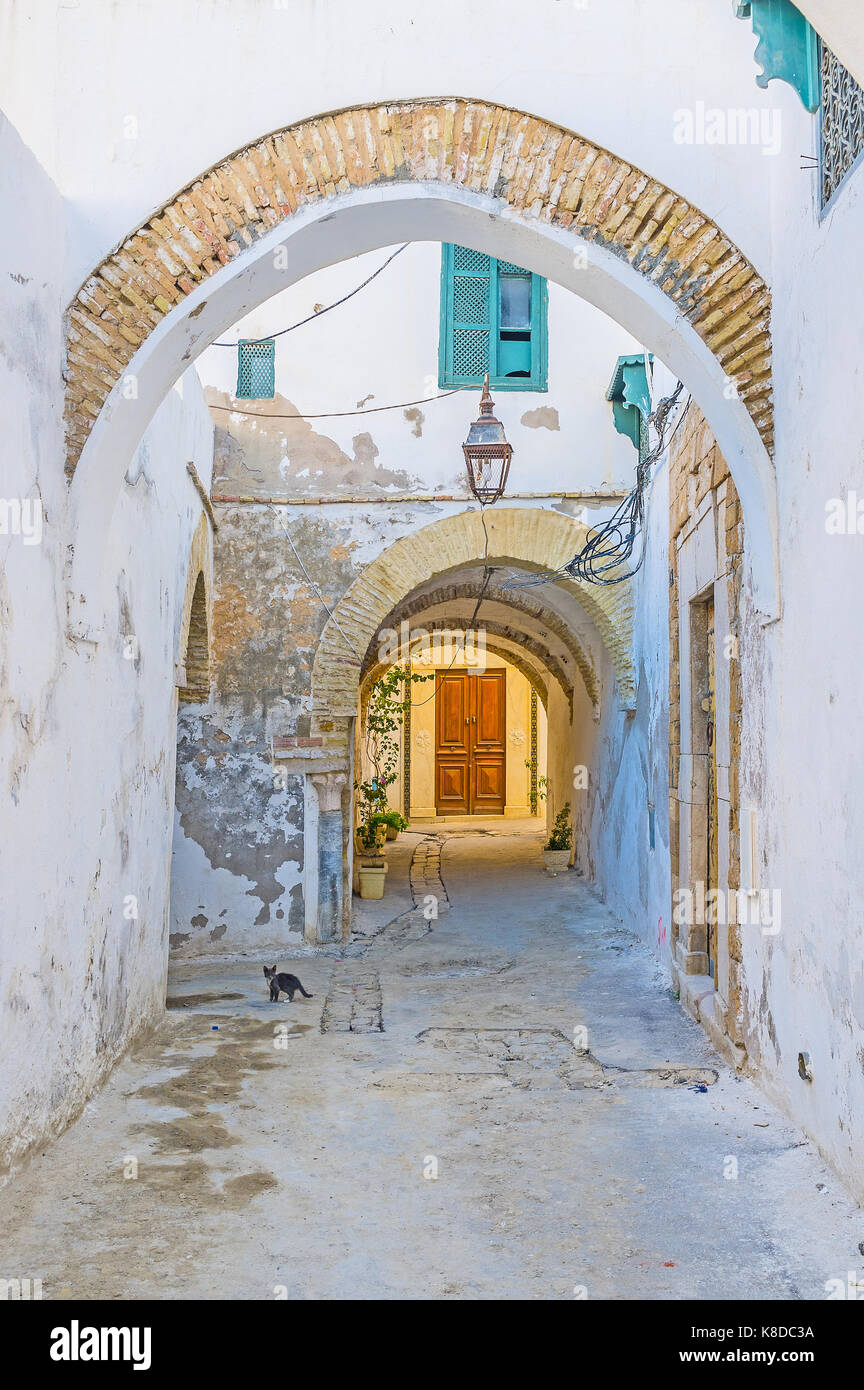 The walk along the narrow street of Medina with many arches under the residential buildings, Tunis, Tunisia. - Stock Image