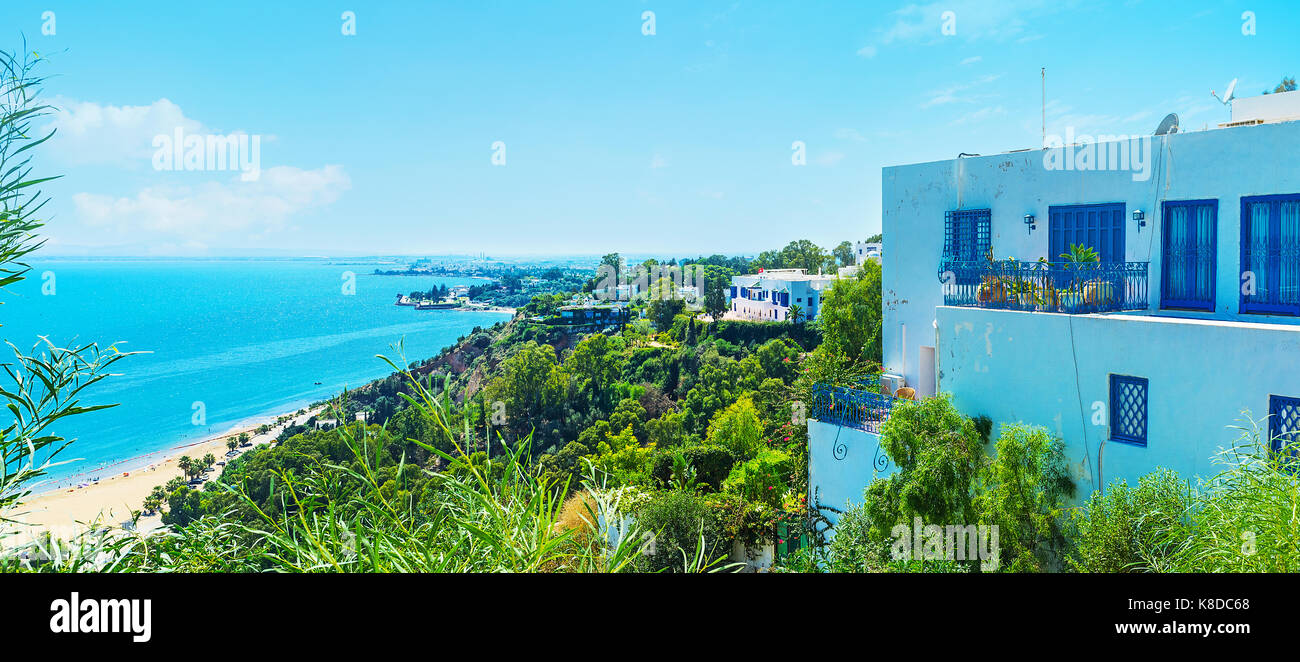 The picturesque tourist resort of Sidi Bou Said, located next to Tunis and famous among the travelers, Tunisia. - Stock Image