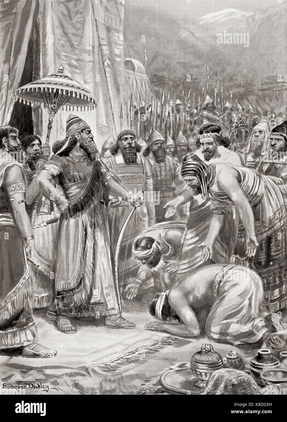 Phoenicians presenting gifts to Ashurbanipal in 876 BC.  Ashurbanipal aka Assurbanipal or Ashshurbanipal.  Assyrian - Stock Image