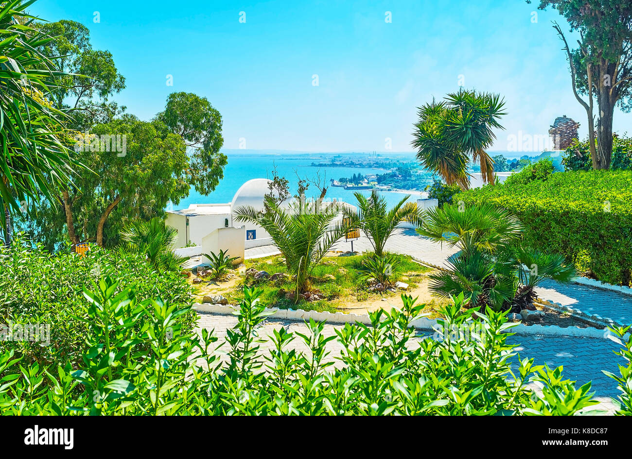 The lush juicy garden in Sidi Bou Said with the scenic view on the sea on the distance, Tunisia. - Stock Image