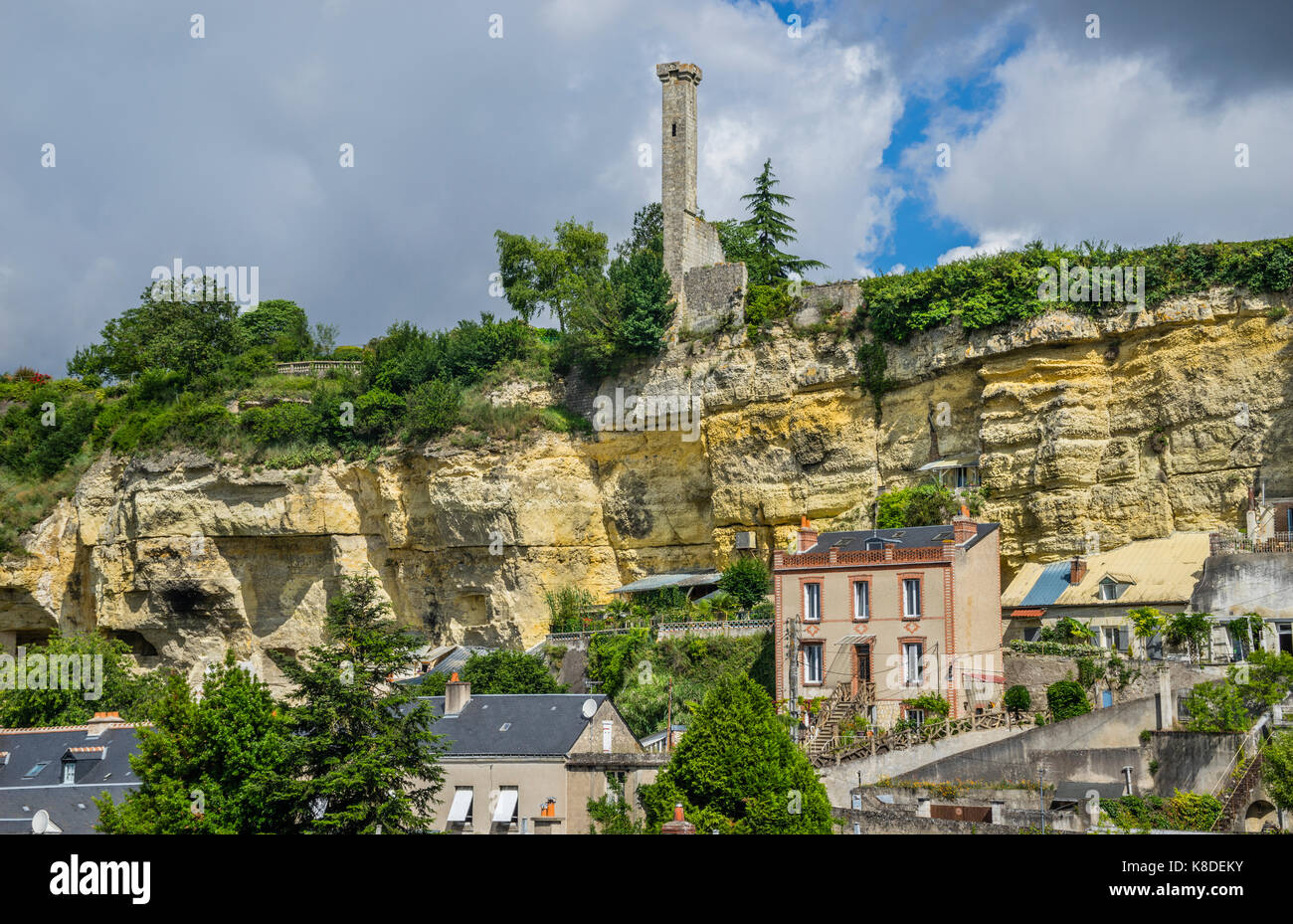 France, Indre-et-Loire department, Touraine, view of Rochecorbon in the Loire Valley, against the backdrop of the - Stock Image