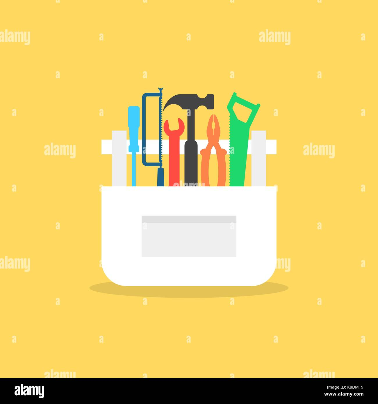 colored tools in white box with shadow - Stock Vector