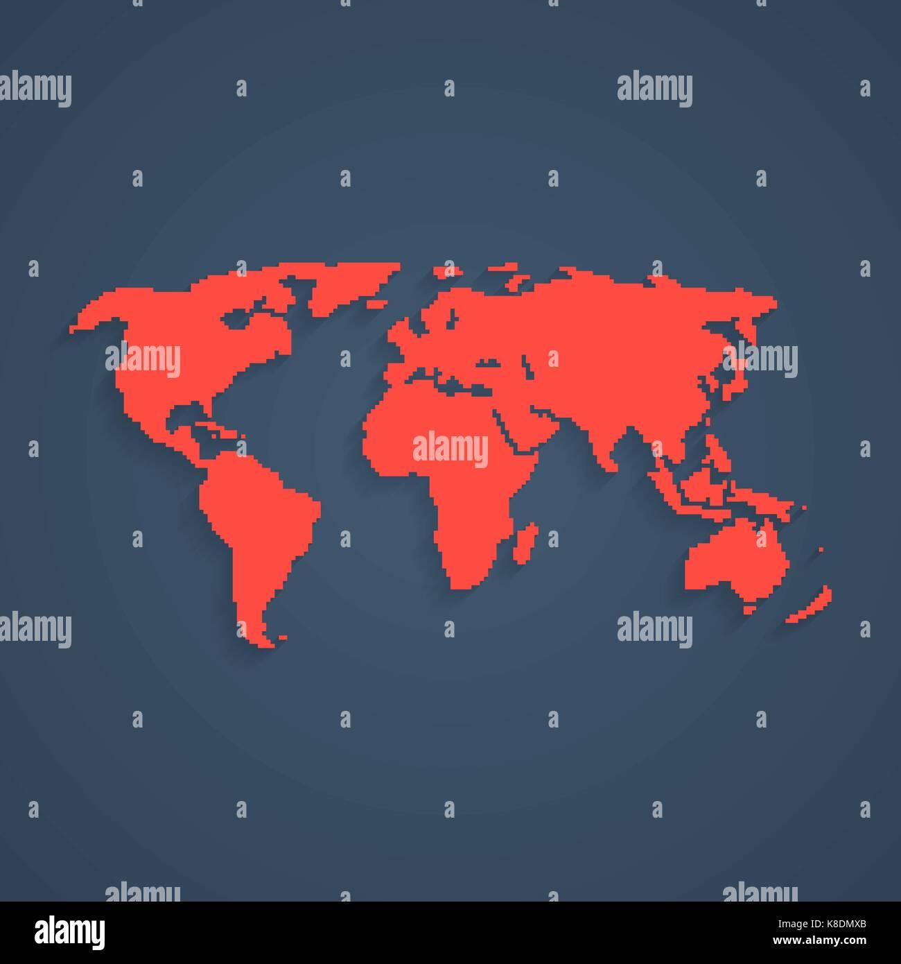 Red pixel art world map stock vector art illustration vector red pixel art world map gumiabroncs Choice Image