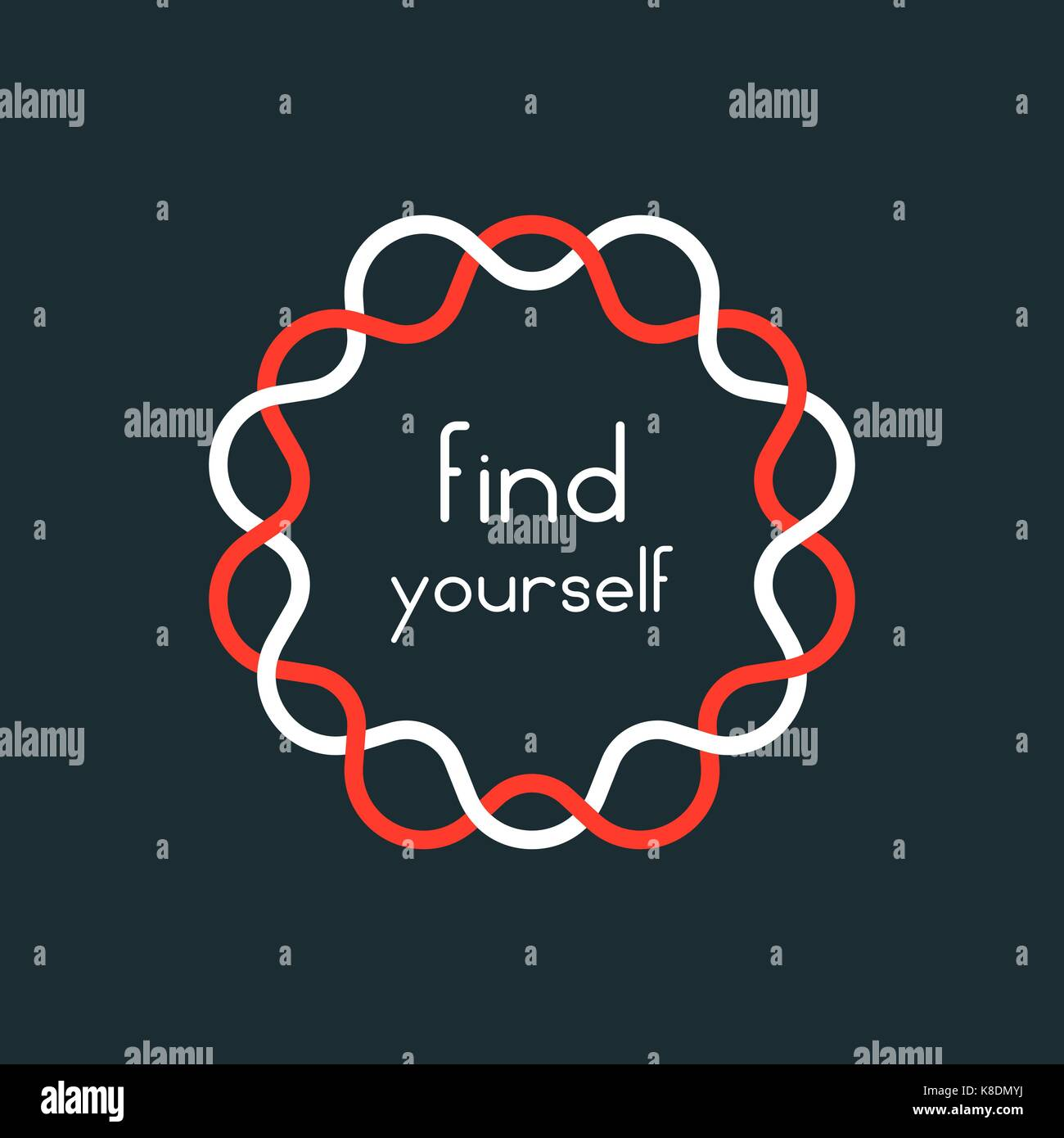 find yourself in red and white sign - Stock Image