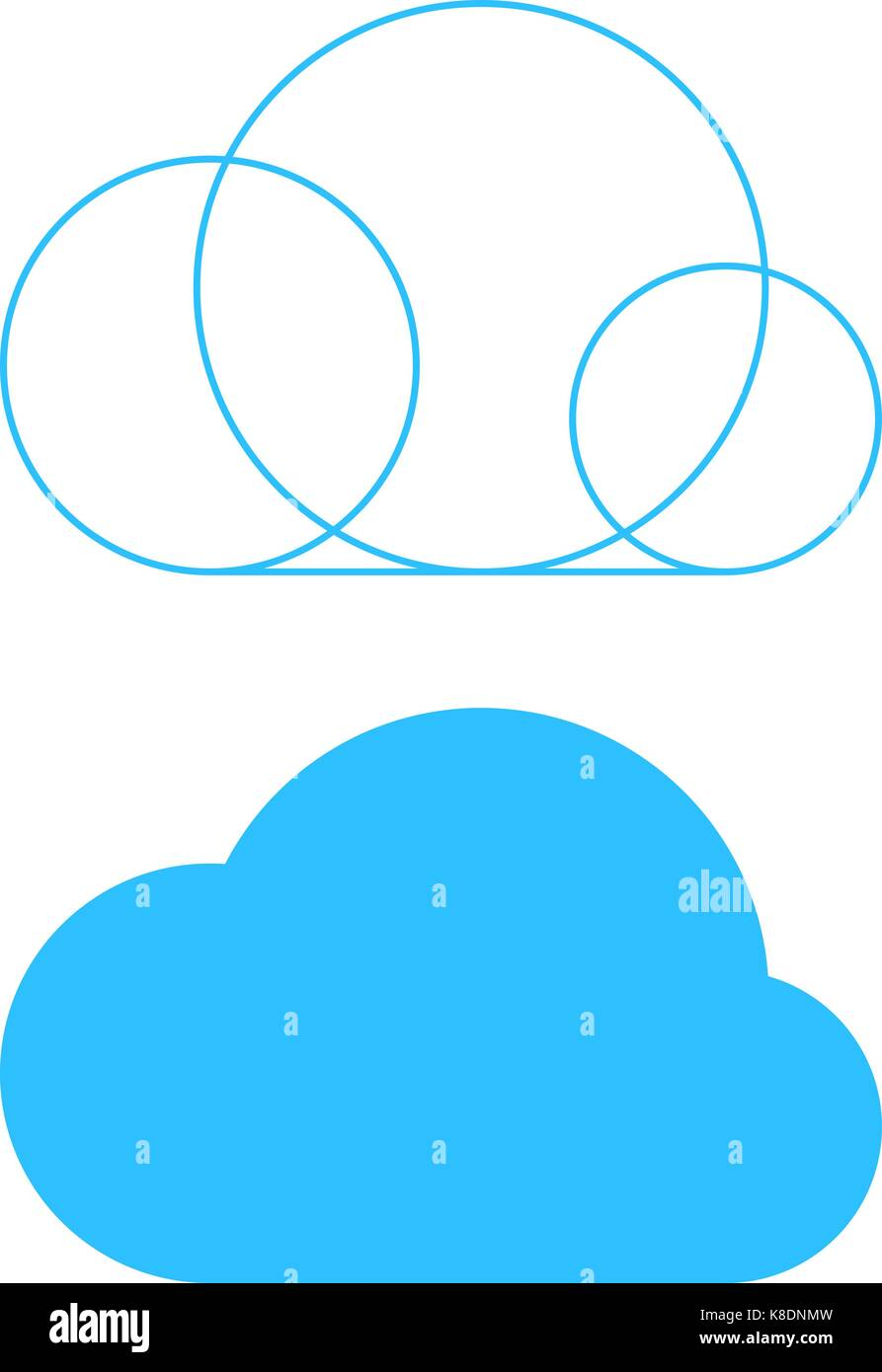 Simple Cloud Icon With Outline Base