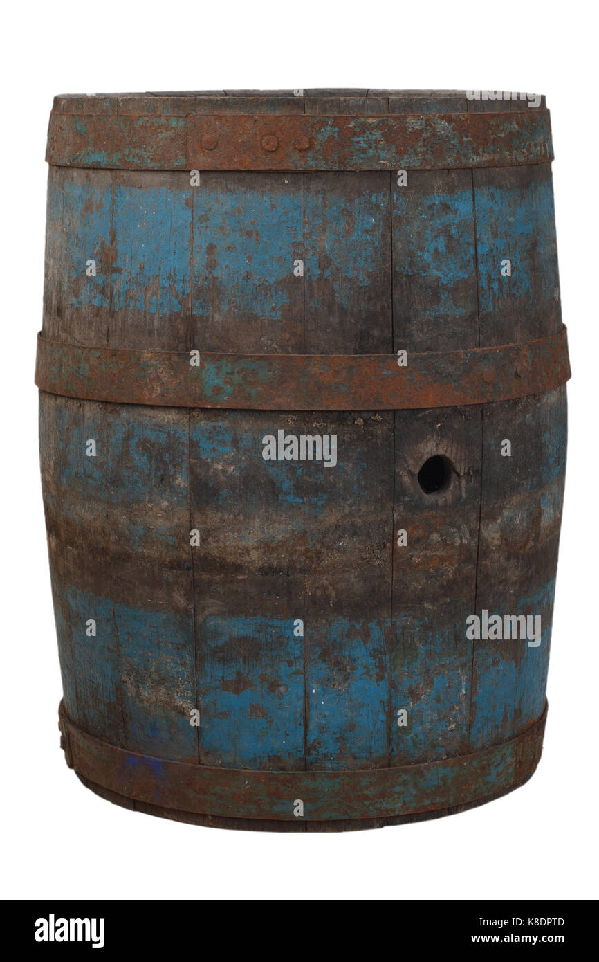 old rusty wooden barrel Stock Photo
