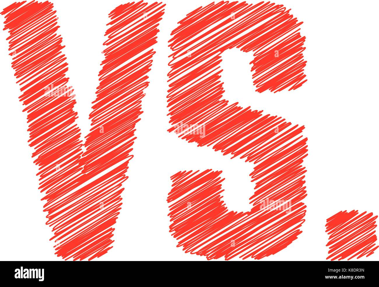 abstract red versus scribble sign - Stock Vector