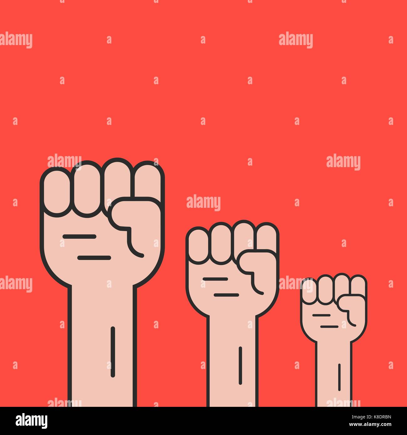 hands up like revolution protest - Stock Vector