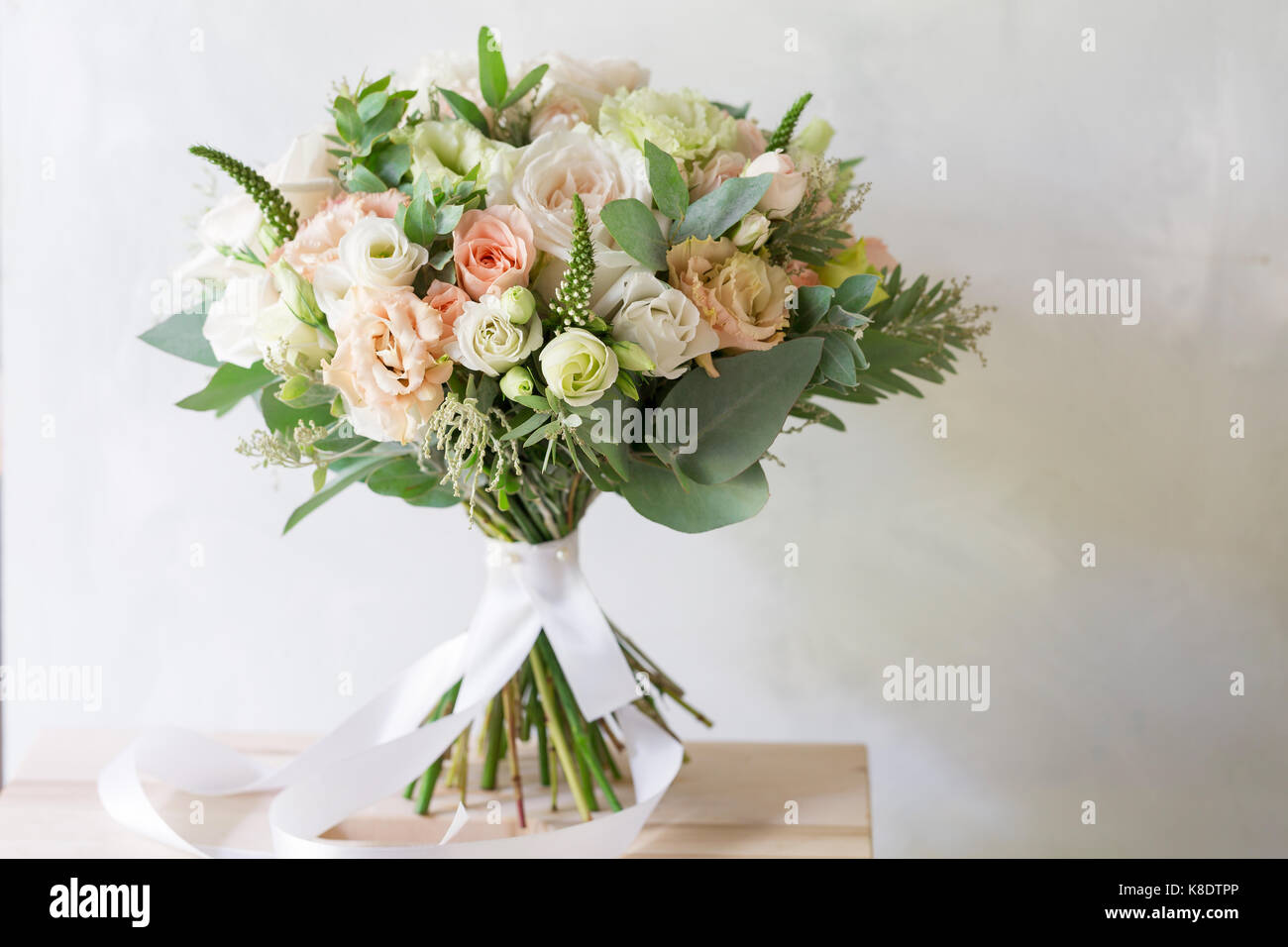 Bridal Bouquet A Simple Bouquet Of Flowers And Greens Stock Photo Alamy